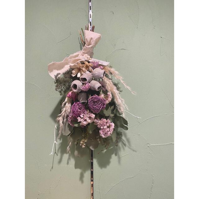 くすみピンクのドライフラワースワッグ ハンドメイドのフラワー/ガーデン(ドライフラワー)の商品写真