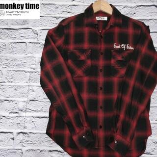 BEAUTY&YOUTH UNITED ARROWS - モンキータイム monkey time  テンセル素材 ネルシャツ Sサイズ