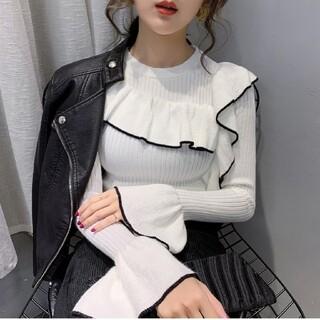 ZARA - 韓国ファッション フリルニット ニット トップス ベーシックニット 即日発送