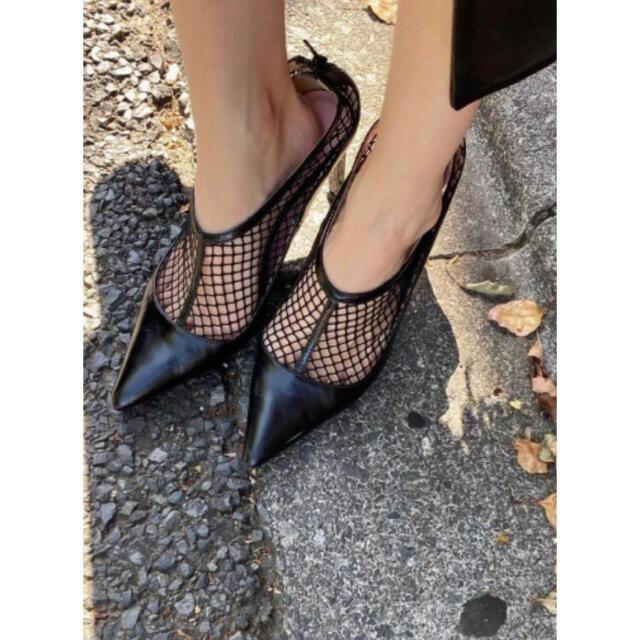 Ameri VINTAGE(アメリヴィンテージ)のAmeri◆新品MEDI MESH CONVERSION PUMPS ブラックL レディースの靴/シューズ(ハイヒール/パンプス)の商品写真