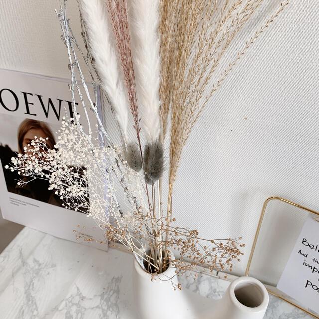 パンパスグラス テールリード すすき ホワイト ピンク 韓国インテリア ゴールド ハンドメイドのフラワー/ガーデン(ドライフラワー)の商品写真