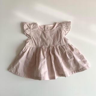 Caramel baby&child  - アナベルの刺繍 ハンドメイド 肩フリルチュニックワンピ check&stripe