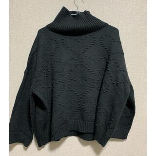 エージーバイアクアガール(AG by aquagirl)のハート編み黒タートルニット(ニット/セーター)