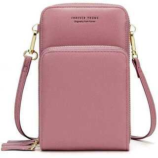 (ピンク)スマホポーチ レディース ショルダーバッグ お財布ポシェット
