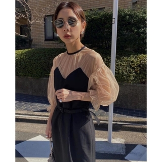 Ameri VINTAGE - Ameri【タグ付未使用】チュールスリーブ ドレス