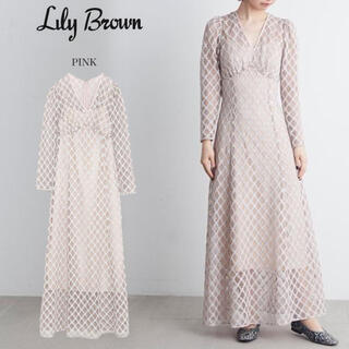 Lily Brown - 【新品未使用】Lily Brown ヴィンテージラメレースワンピース ピンク