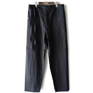 ワンエルディーケーセレクト(1LDK SELECT)の20ss Easy to Wear イージーテーパードパンツ リネン 黒 48(ワークパンツ/カーゴパンツ)