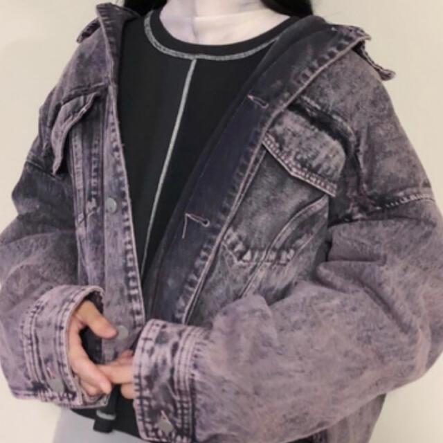 HARE(ハレ)のHARE ケミカルブリーチデニムGジャン 韓国 古着 ピンク パープル メンズのジャケット/アウター(Gジャン/デニムジャケット)の商品写真