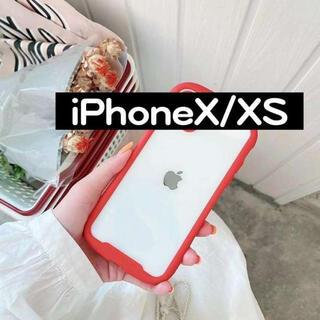 iPhoneX/XS 透明 赤 ケース カバー バンパー 保護