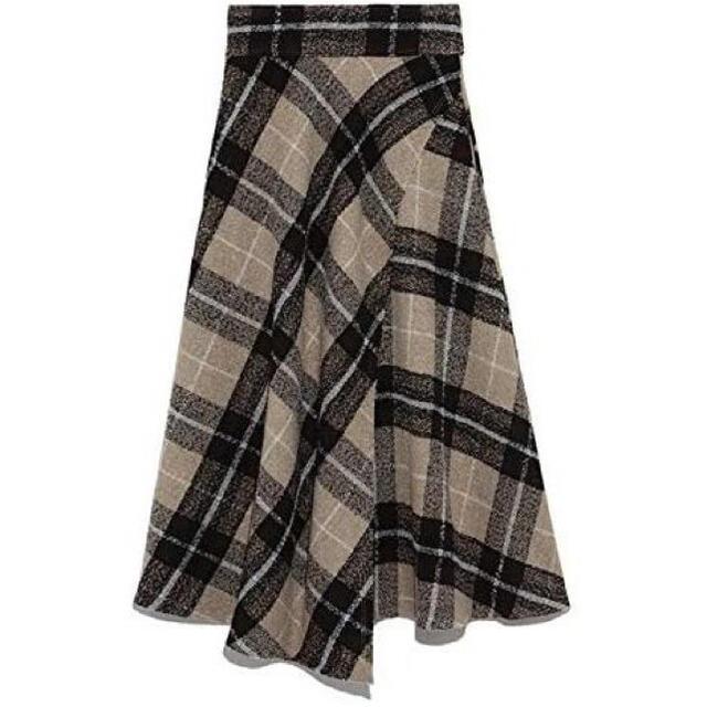 Mila Owen(ミラオーウェン)のmila owen 斜め切替チェック柄フレアスカート レディースのスカート(ロングスカート)の商品写真