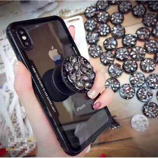 iPhone7 iPhone8 ブラック キラリビジューリング付き スケルトン