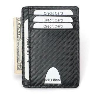 【ブラック】高級 カーボンレザー カードケース スキミング防止加工(名刺入れ/定期入れ)