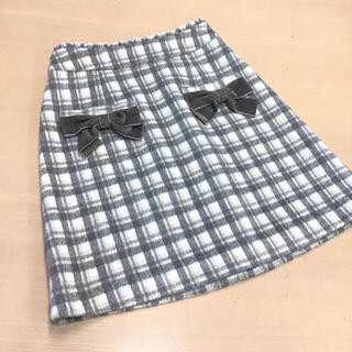 ロディスポット(LODISPOTTO)の定価8580円 リボン2個チェック柄台形スカート グレー(ミニスカート)