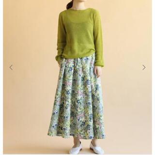 IENA - 新品 IENAかすれフラワーギャザースカート サックスブルー