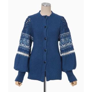 マメ(mame)の【21ss】Cotton Nordic Knit Cardigan - blue(カーディガン)