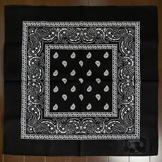 バンダナ 大判 ペイズリー柄 ブラック 黒 ローライダー ウェッサイ(バンダナ/スカーフ)