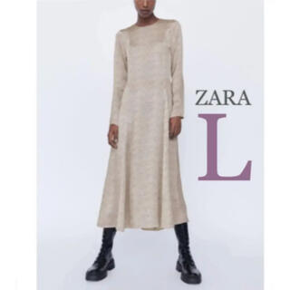 ZARA - 【新品・未使用】ZARA プリント柄 ミディ丈 ワンピース  L