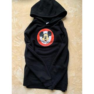 ディズニー(Disney)のレトロミッキー フードトレーナー スゥェット 黒 XLサイズ 男女兼用(パーカー)