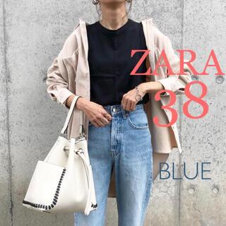 ザラ(ZARA)の新品未使用 ZARA ハイライズストレートレッグデニムパンツ L ブルー(デニム/ジーンズ)