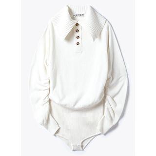 PERVERZE Wide Collar Knit Body Suit