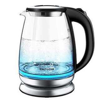 電気ケトル ガラス 1.8L Elechomes お湯沸かしポット 大容量 電気(電気ケトル)