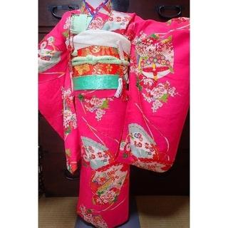 七歳 レトロ正絹ピンク糸巻扇 お着物フルセット(和服/着物)