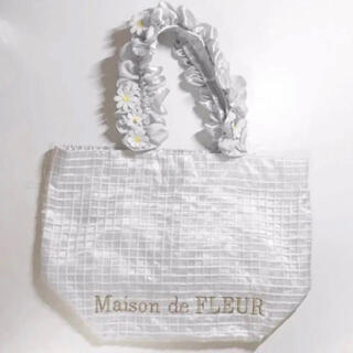 メゾンドフルール(Maison de FLEUR)のMaison de FLEUR  フラワーレースフリルトート ブルー(トートバッグ)