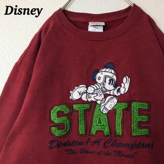 ディズニー(Disney)の古着 ディズニー スウェット ミッキー 刺繍 ラグビー でかろご 裏起毛(スウェット)