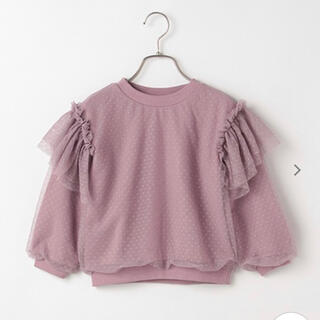 プティマイン(petit main)のb-ROOM 110 裏毛 オーバードットチュールトレーナー(Tシャツ/カットソー)