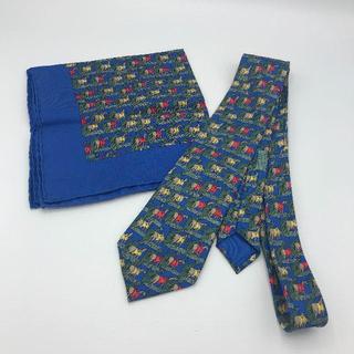 Hermes - エルメス Hermès ネクタイ&ポケットチーフ セット 使用感少 美品