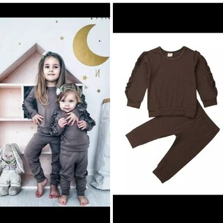 エイチアンドエム(H&M)の袖フリル❣️Basic❣️brown❣️cotton❣️セットアップ❣️100(Tシャツ/カットソー)