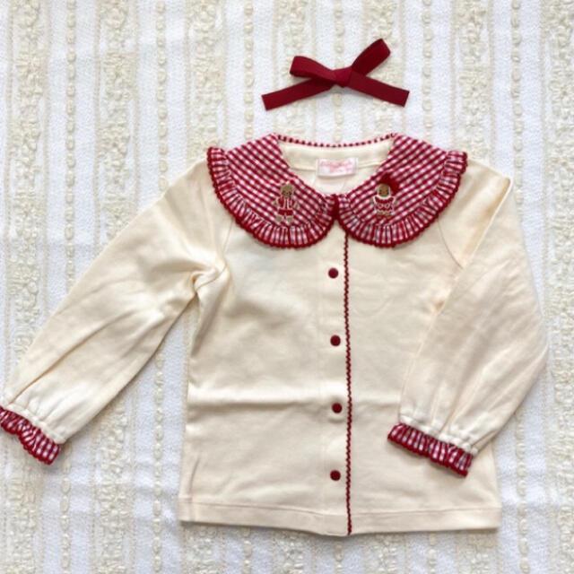 Shirley Temple(シャーリーテンプル)のお菓子のおうち 赤色 ブラウス 90cm キッズ/ベビー/マタニティのキッズ服女の子用(90cm~)(ブラウス)の商品写真