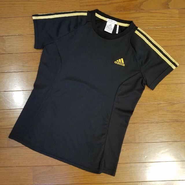 adidas(アディダス)の☆adidas☆ アディダス Tシャツ サイズM ブラック(黒) ゴールド レディースのトップス(Tシャツ(半袖/袖なし))の商品写真