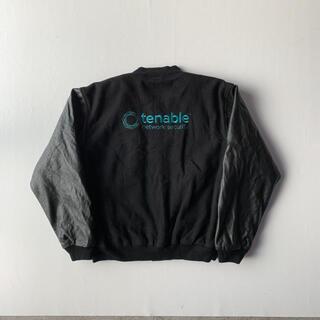 ビームス(BEAMS)のスタジャン ウールジャケット 企業ロゴ 刺繍 ブラック アウター 腕レザー(スタジャン)
