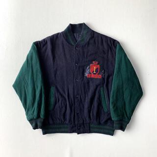 ビームス(BEAMS)のUS古着 スタジャン ウールジャケット ネイビー グリーン グッドカラー 古着(スタジャン)