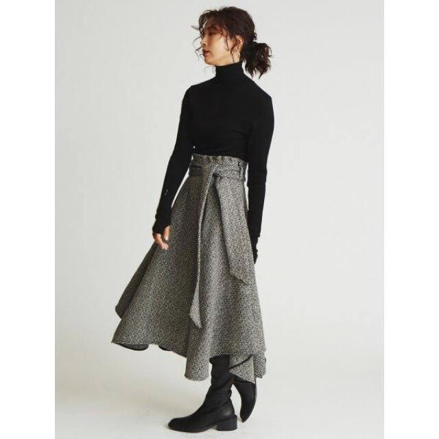 Mila Owen(ミラオーウェン)の《Mila Owen》 ペーパーバックウールフレアスカート レディースのスカート(ロングスカート)の商品写真