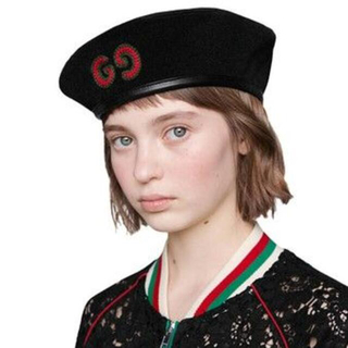 Gucci - 正規本物 即完売GUCCI レザートリム フェルトベレー ベレー帽 黒