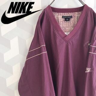 NIKE - 【ナイキ】希少 サイズL 刺繍ロゴ ナイロンゲームシャツワインnikeスウェット