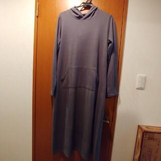 ロングワンピース 薄手セーター 長袖 フード グレー M(ロングワンピース/マキシワンピース)