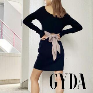 GYDA - 未使用 GYDA バックリボン テレコ ミニ ワンピース ブラック