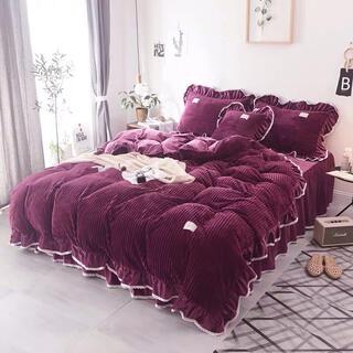 ふわふわあったか寝具カバーセット掛け布団カバーベッドスカート枕カバーセット(シーツ/カバー)