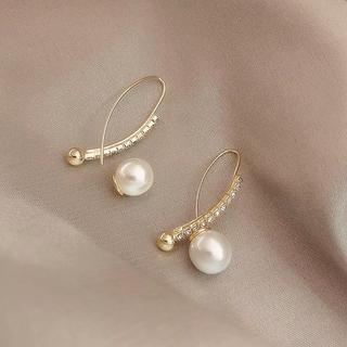 AHKAH - pearl zirconia drop pierce