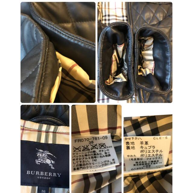 BURBERRY(バーバリー)の美品本物バーバリーBurberry高級リアルファー付ラムレザー中綿ダッフルコート レディースのジャケット/アウター(毛皮/ファーコート)の商品写真
