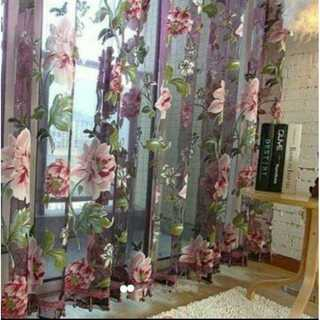 95 レースカーテン 花柄 フラワー柄 カーテン 200×100 紫 花 (カーテン)