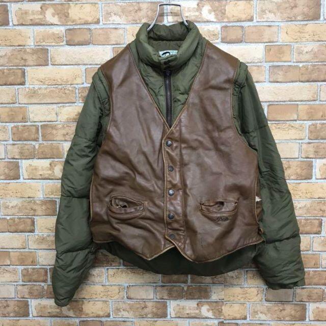 schott(ショット)の【ショット】usa製 2way ダウンジャケット ベスト レザー 古着男子 メンズのジャケット/アウター(ダウンジャケット)の商品写真