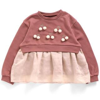 エフオーキッズ(F.O.KIDS)のアプレレクール さくらんぼ裾フリルトレーナー 裏毛 100(Tシャツ/カットソー)