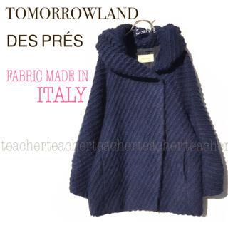 TOMORROWLAND - ウール フーデットコート ネイビー フード ふんわり 可愛い 紺 イタリア製 毛