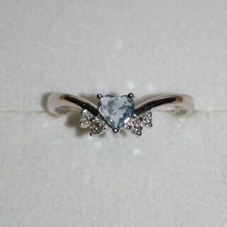 ベリテ K18 WG ダイヤ 0.05ct アクアマリン ダイヤモンド リング