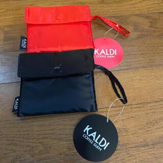 カルディ(KALDI)のカルディ エコバック ブラック&レッド(エコバッグ)