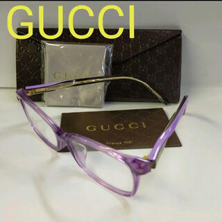 Gucci - GUCCI グッチ クリア パープル 紫 伊達眼鏡 フレーム ウェリントン